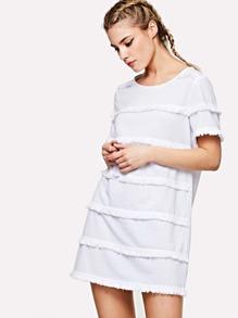 Fringe Detail Tunic Dress