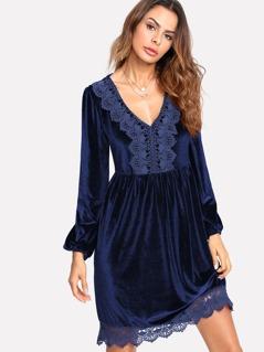 Bishop Sleeve Lace Applique Velvet Dress