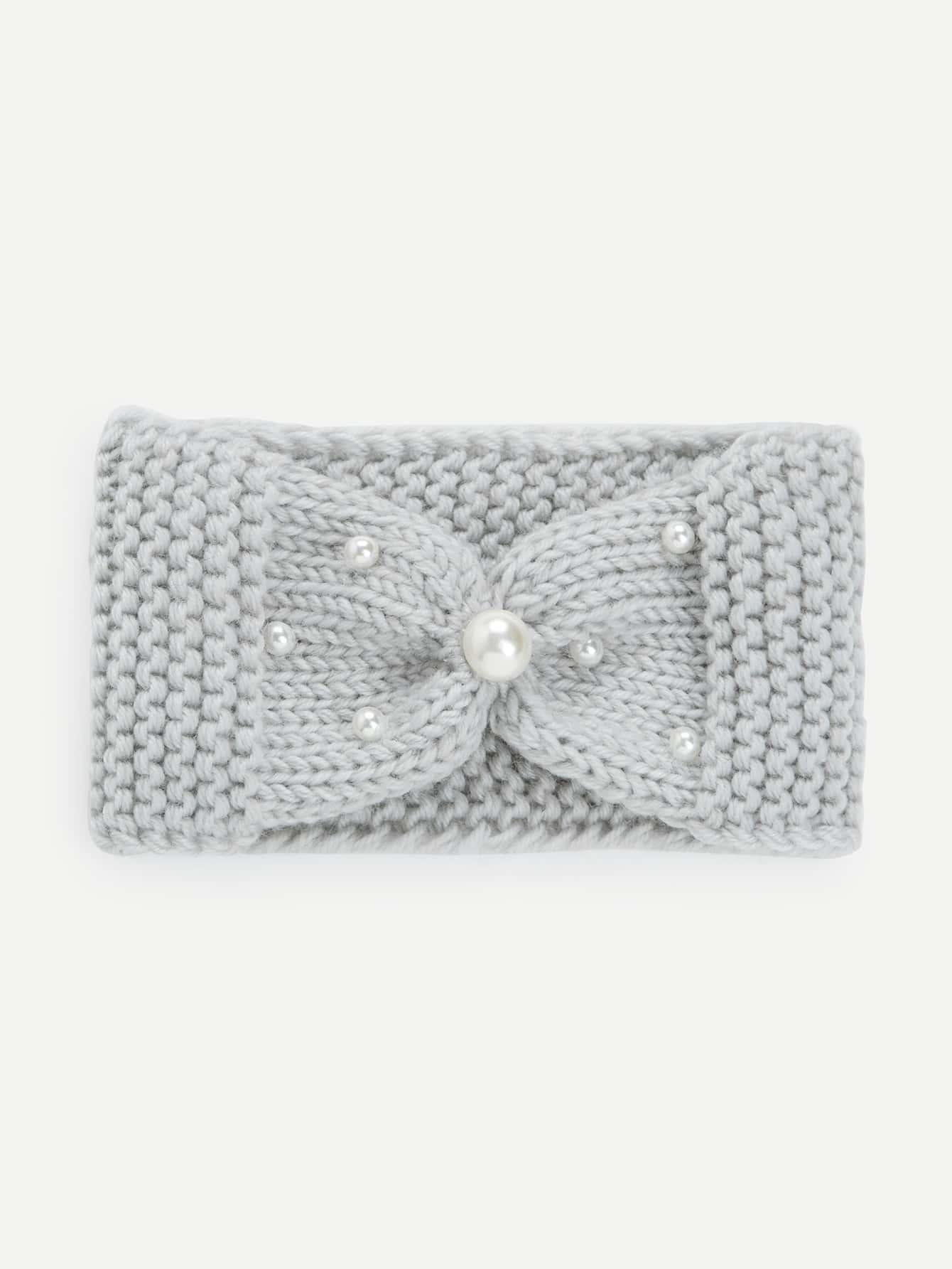 Faux Pearl Gathered Chunky Knit Headband