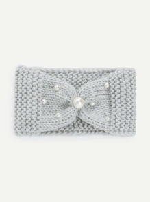 Faux Pearl Gathered Chunky Knit Headband