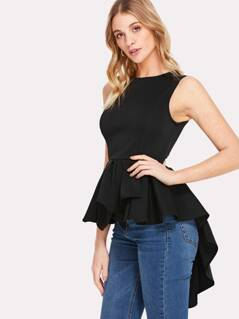 Zip Back Asymmetrical Pleated Peplum Top