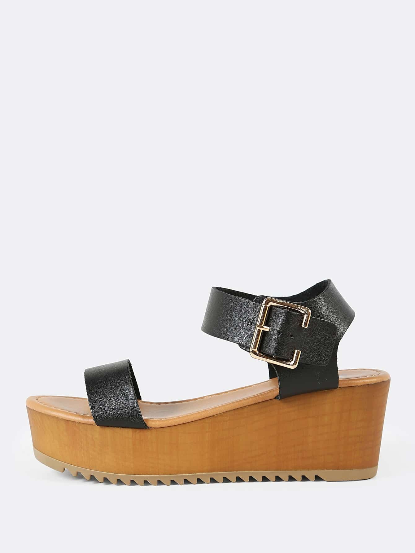 цены Thick Buckled Ankle Strap Single Band Wedge Sandal BLACK