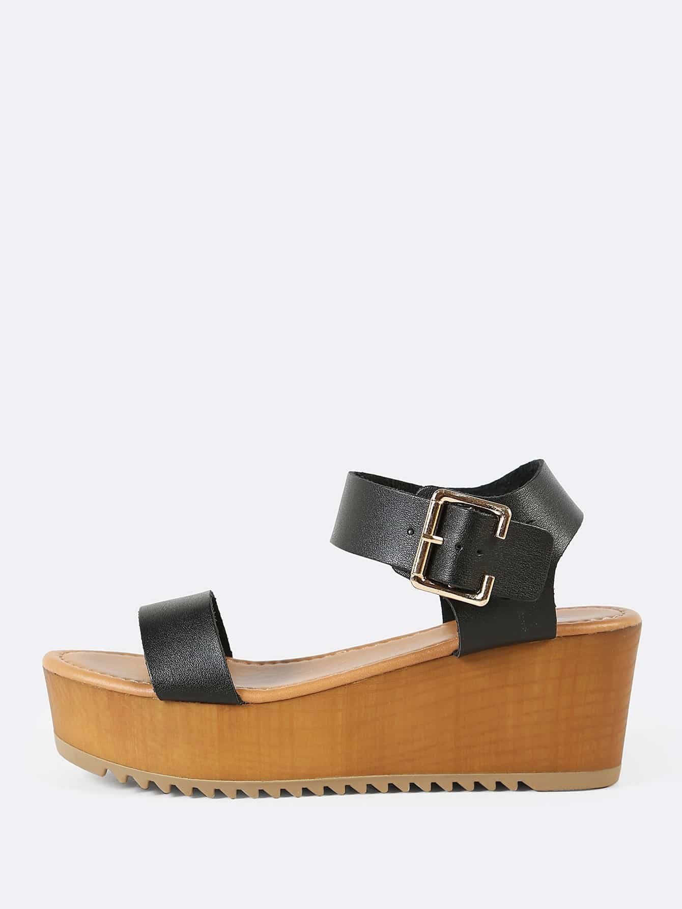 Thick Buckled Ankle Strap Single Band Wedge Sandal BLACK frilly single band ankle strap heels mauve