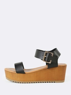 Thick Buckled Ankle Strap Single Band Wedge Sandal BLACK