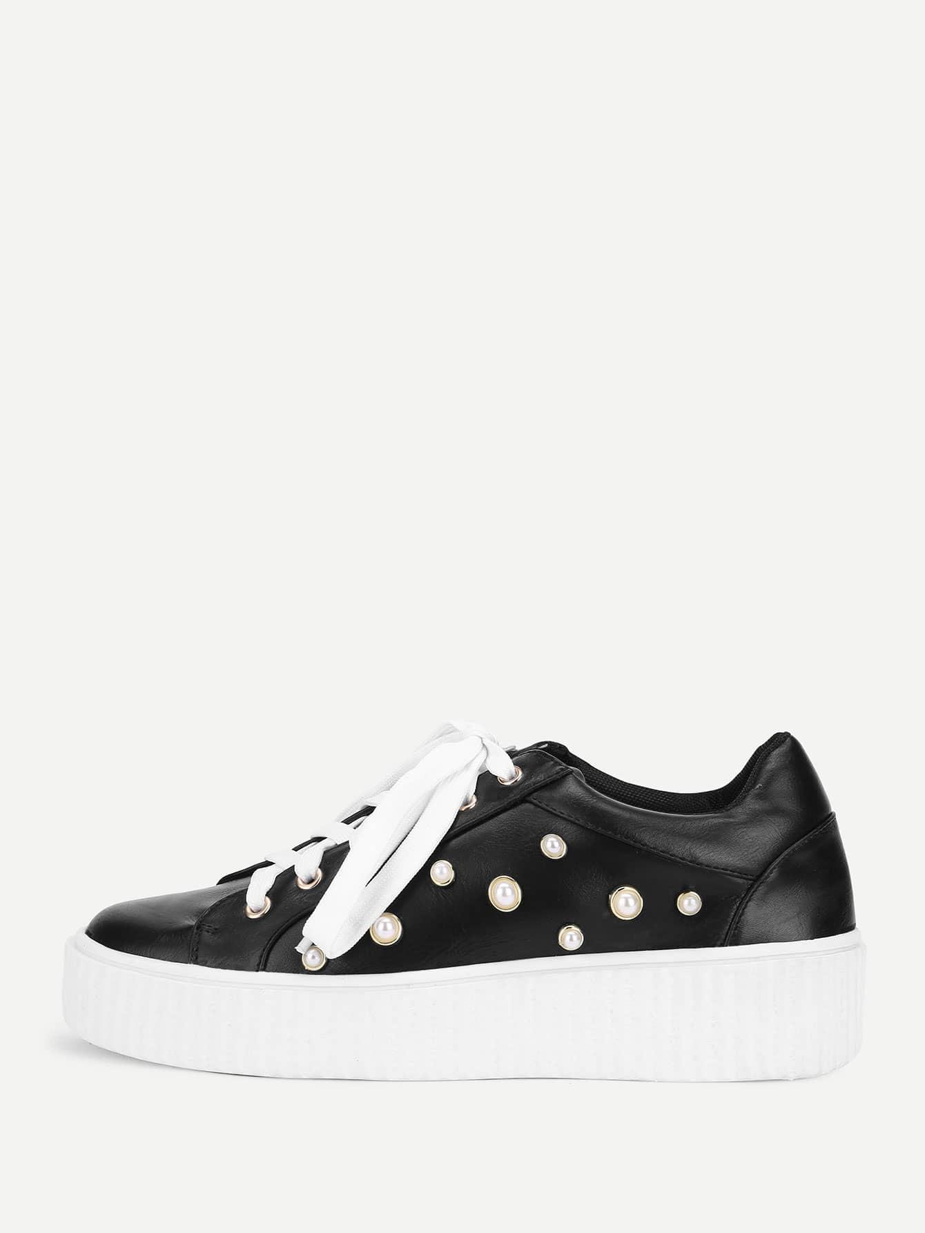 Купить Модные кроссовки со шнуровкой и бусинами, null, SheIn