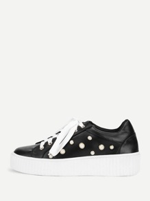 Faux Pearl Lace Up PU Sneakers
