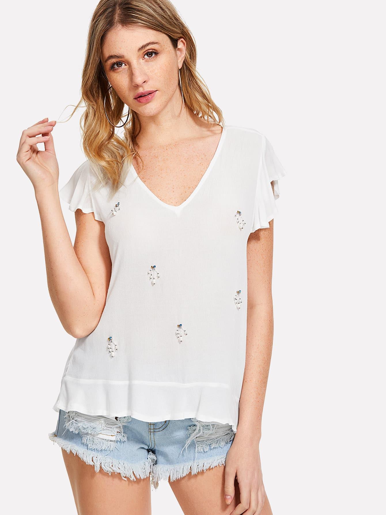 Pearl Beaded Ruffle Trim Blouse ruffle trim blouse
