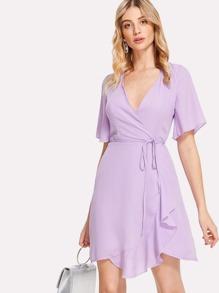 Solid Surplice Wrap Dress