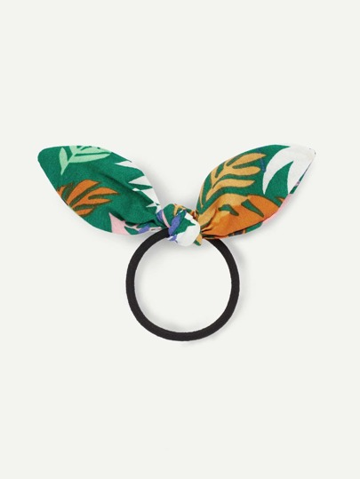 Leaf Print Bow Hair Tie