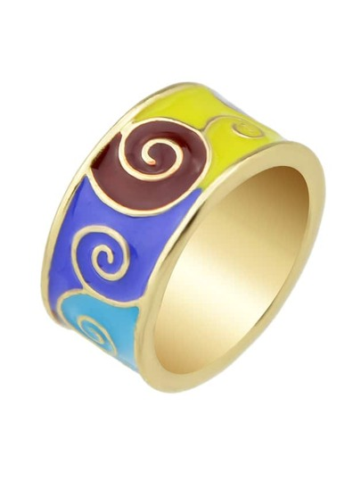 Blue-8 Round Gold Plated Finger Rings