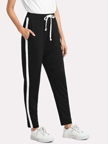 Contrast Sideseam Sweatpants SHEIN