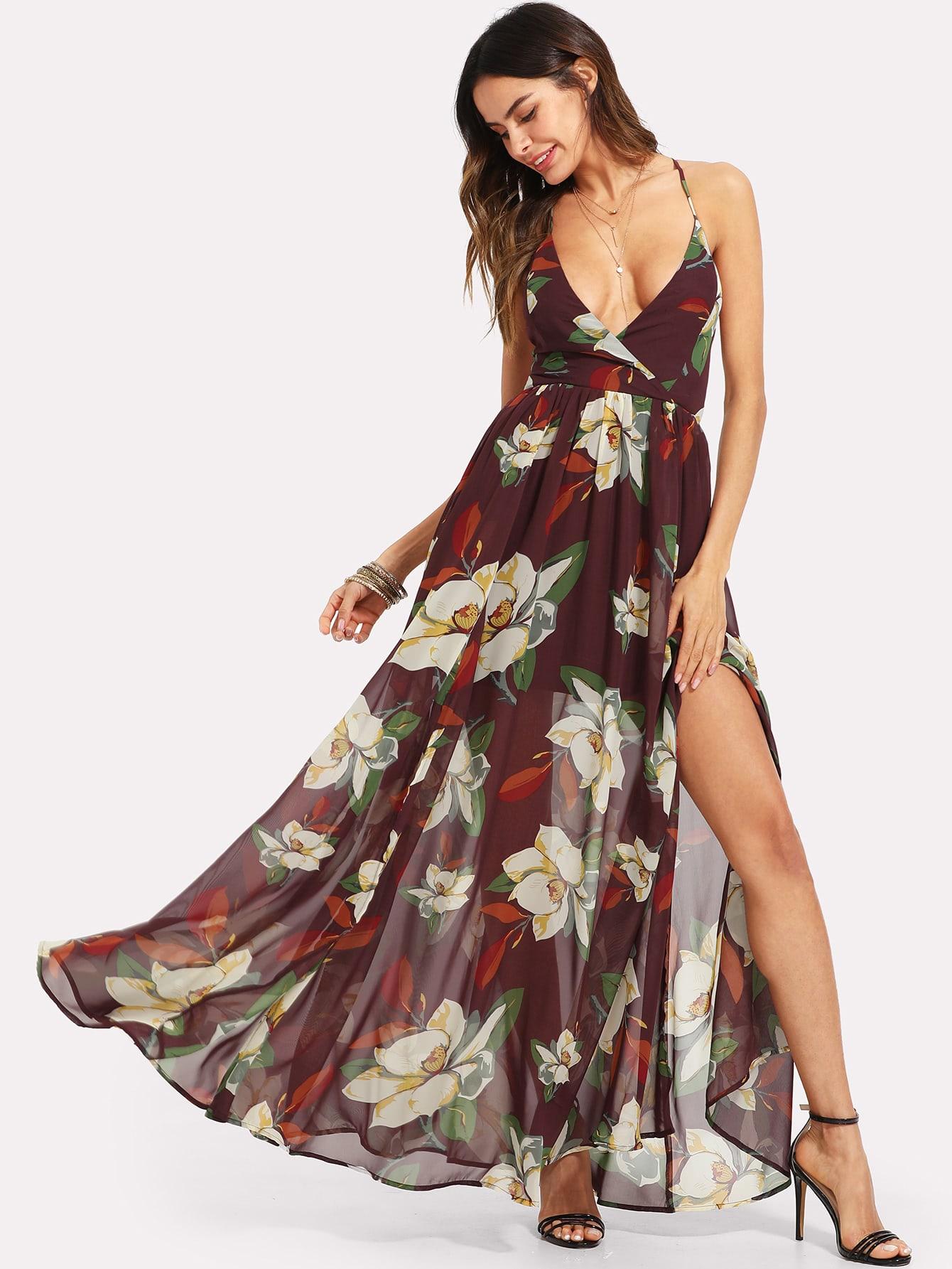 Surplice Neck Fit & Flare Floral Dress