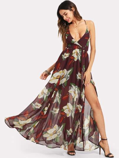 Surplice Neck Fit & Flare Floral Dress