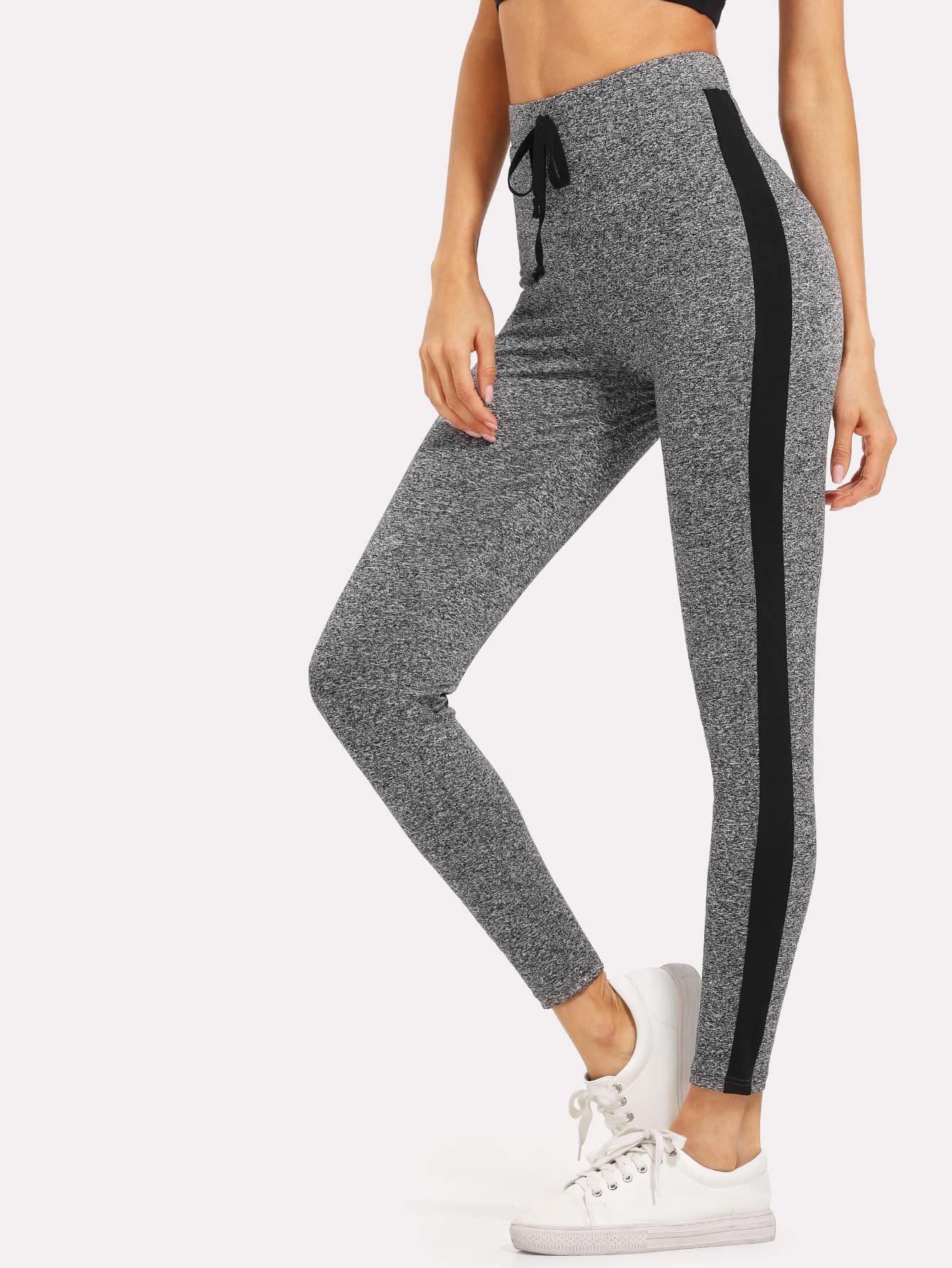 Contrast Panel Marled Knit Leggings