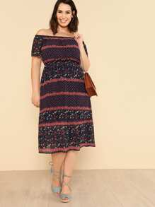 Calico Print Fit & Flare Dress