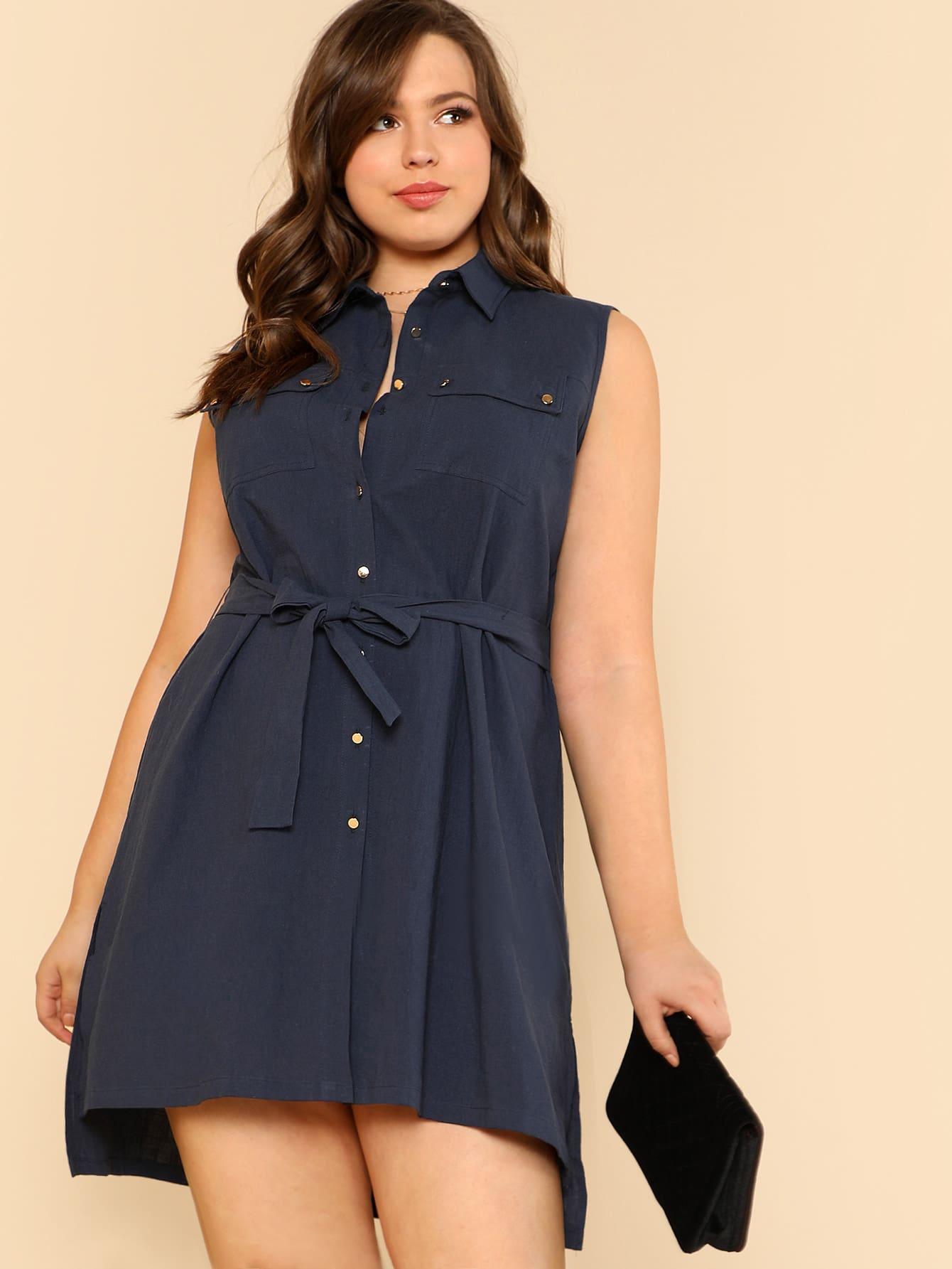Self Belted Slit Dip Hem Shirt Dress self belted solid dress