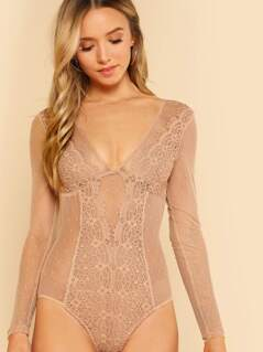 Embroidered Mesh Long Sleeve Bodysuit NUDE