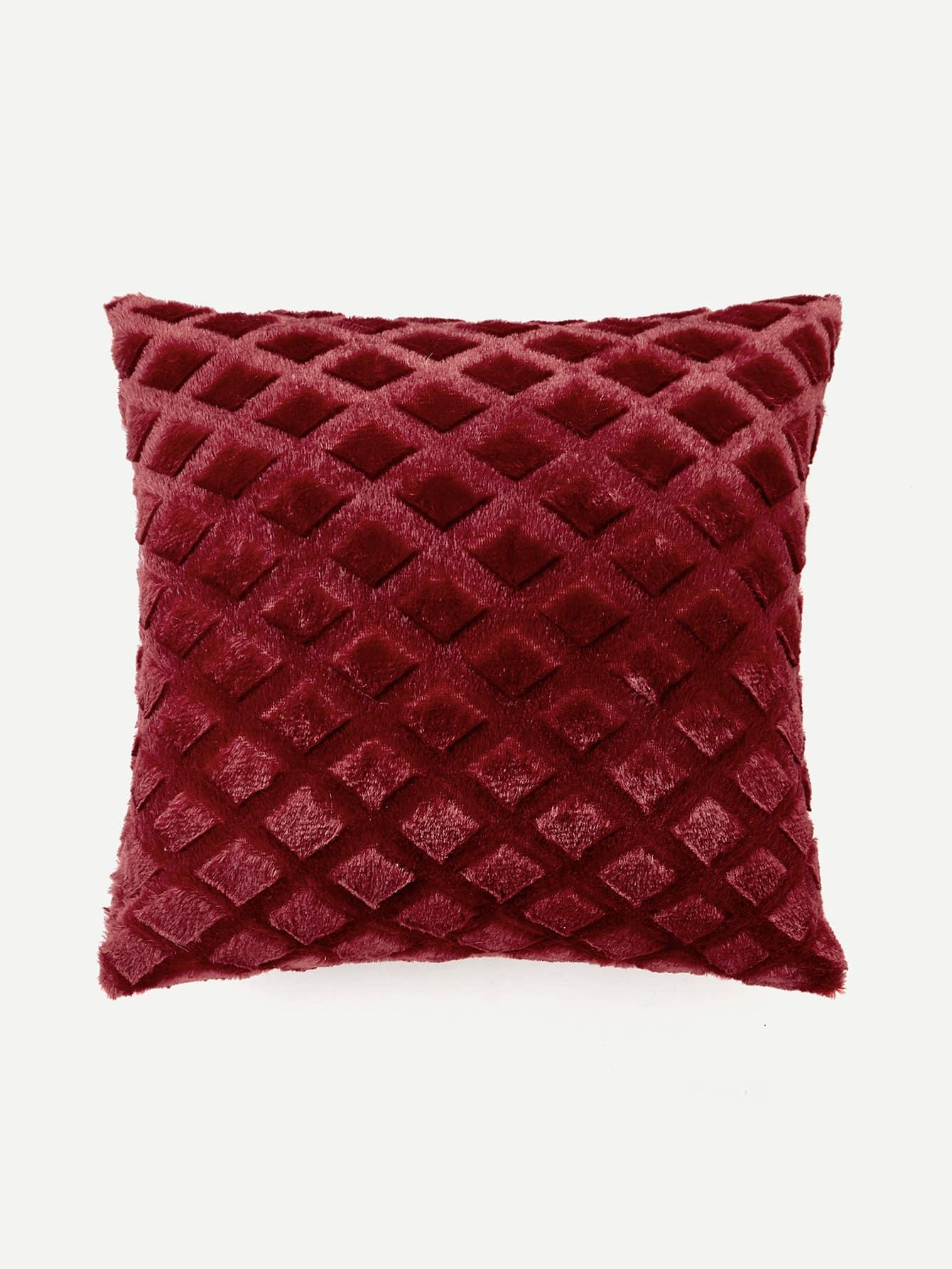 Diamond Shape Embossed Faux Fur Pillow Case