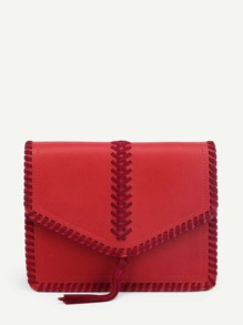 Tassel Detail Flap PU Crossbody Bag