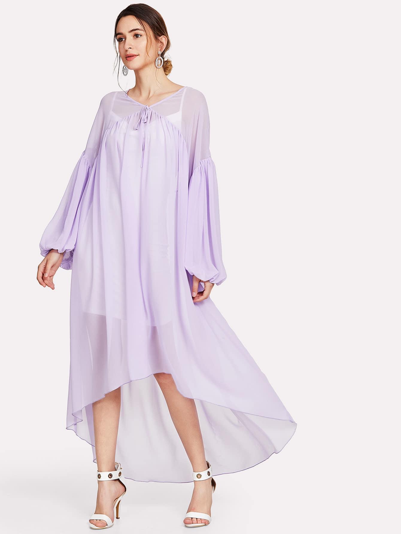 Drop Shoulder Bishop Sleeve Asymmetrical Hem Dress drop shoulder bishop sleeve fuzzy jumper