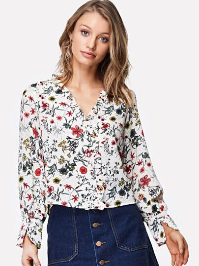 Frill Neckline Pleated Detail Floral Blouse