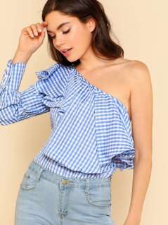 One Shoulder Ruffle Trim Gingham Print Top BLUE