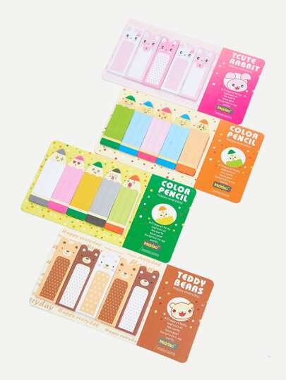 Cartoon Sticky Bookmark Set