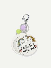 Random Color Ball Letter & Unicorn Round Keychain