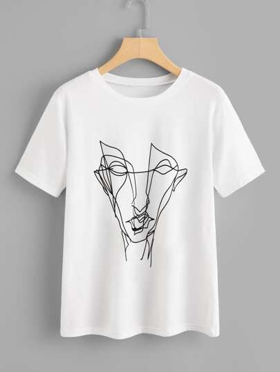 Tee-shirt imprimé du graffiti abstrait