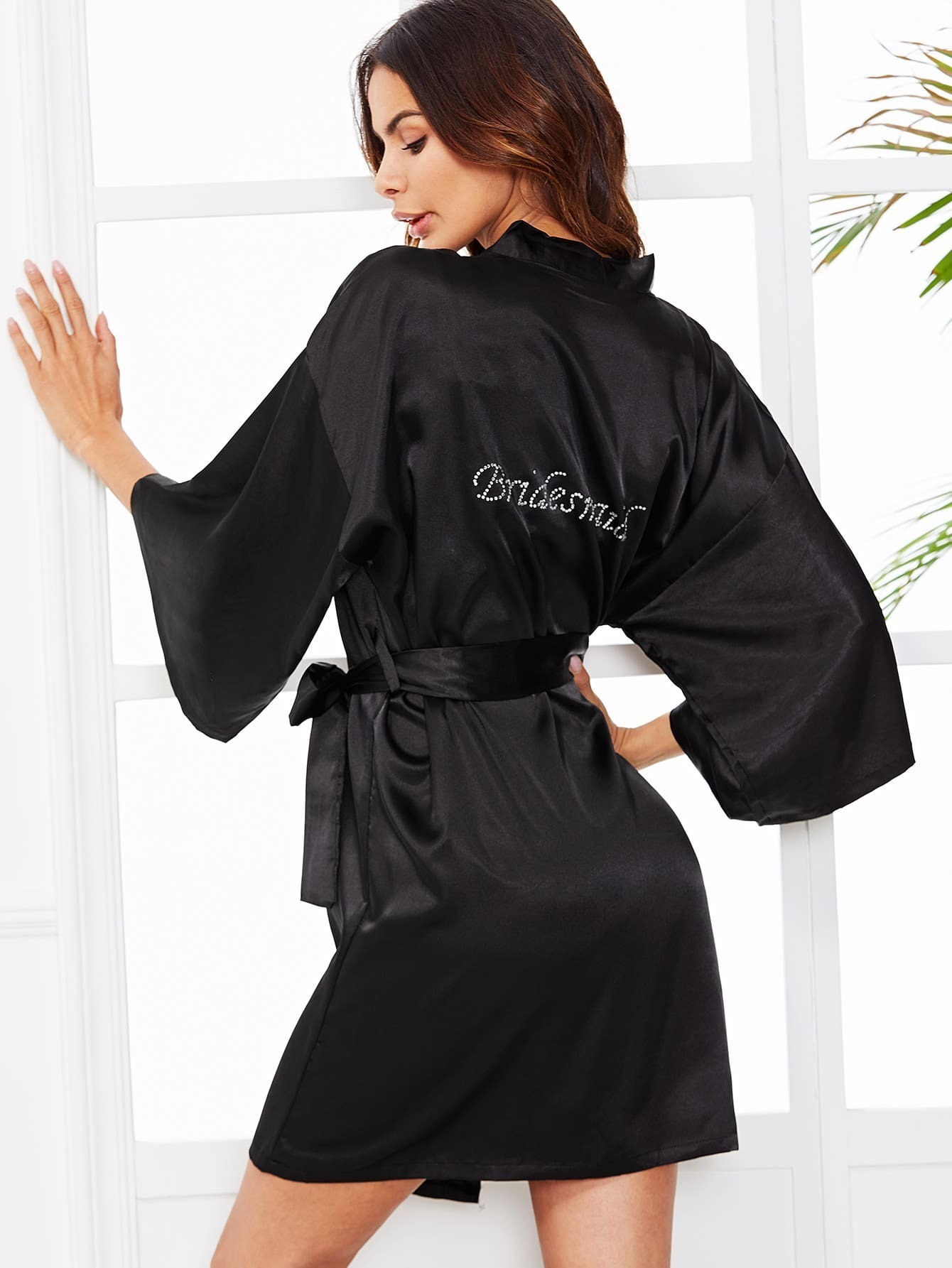 Self Tie Wrap Bride Robe self tie satin robe with panty