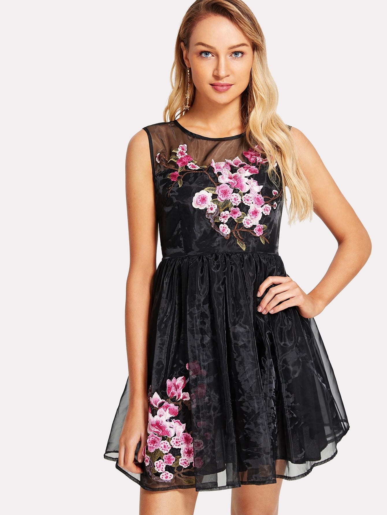 Embroidered Flower Applique Fit & Flared Organza Dress zip back fit and flared plaid dress