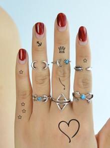 6 Pcs/Set Moon Horn Shape Knuckle Rings