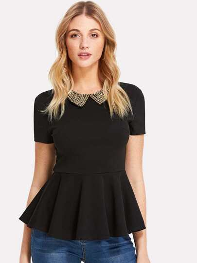 Pearl Embellished Collar Zip Back Top