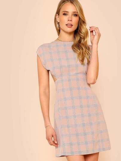 Sleeveless Open Back Plaid Dress PINK