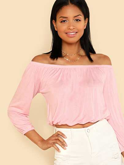 Elastic Hem Off Shoulder Long Sleeve Top PINK