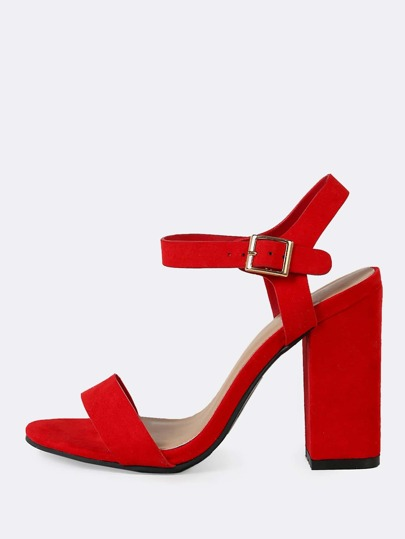 Faux Suede Single Band Ankle Strap Chunky Heel RED