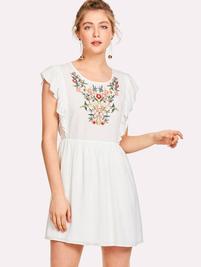 Flower Embroidered Ruffle Smock Dress