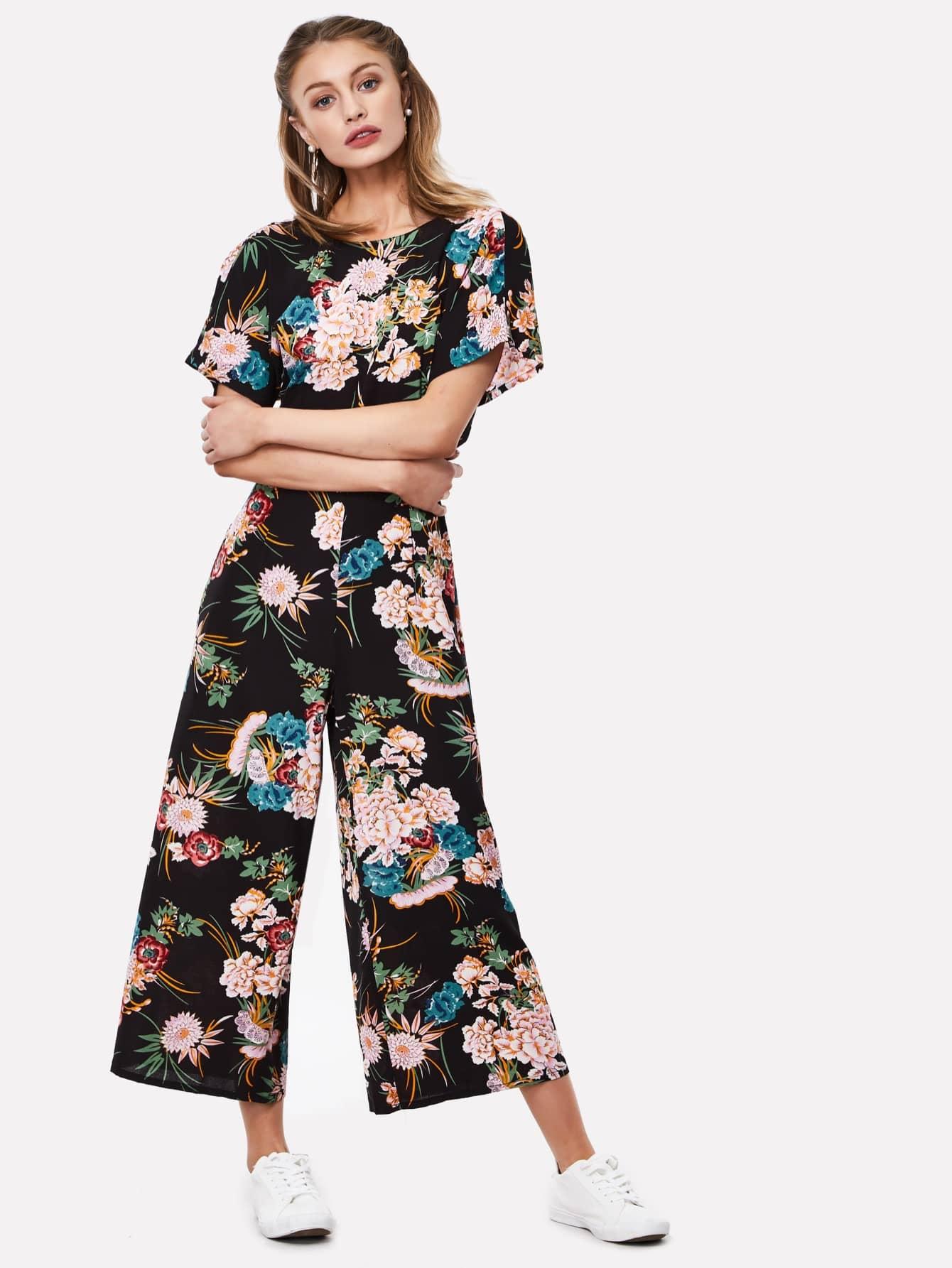 Knot Back Flower Print Wide Leg Jumpsuit knot front wide leg printed jumpsuit