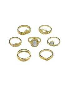 Gold 7Pcs/Set Flower White Opal Rings