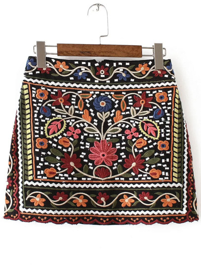 Jupe vintage avec broderie tribal - multicolore
