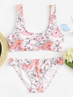 Criss Cross Top With Flower Print Bikini Set