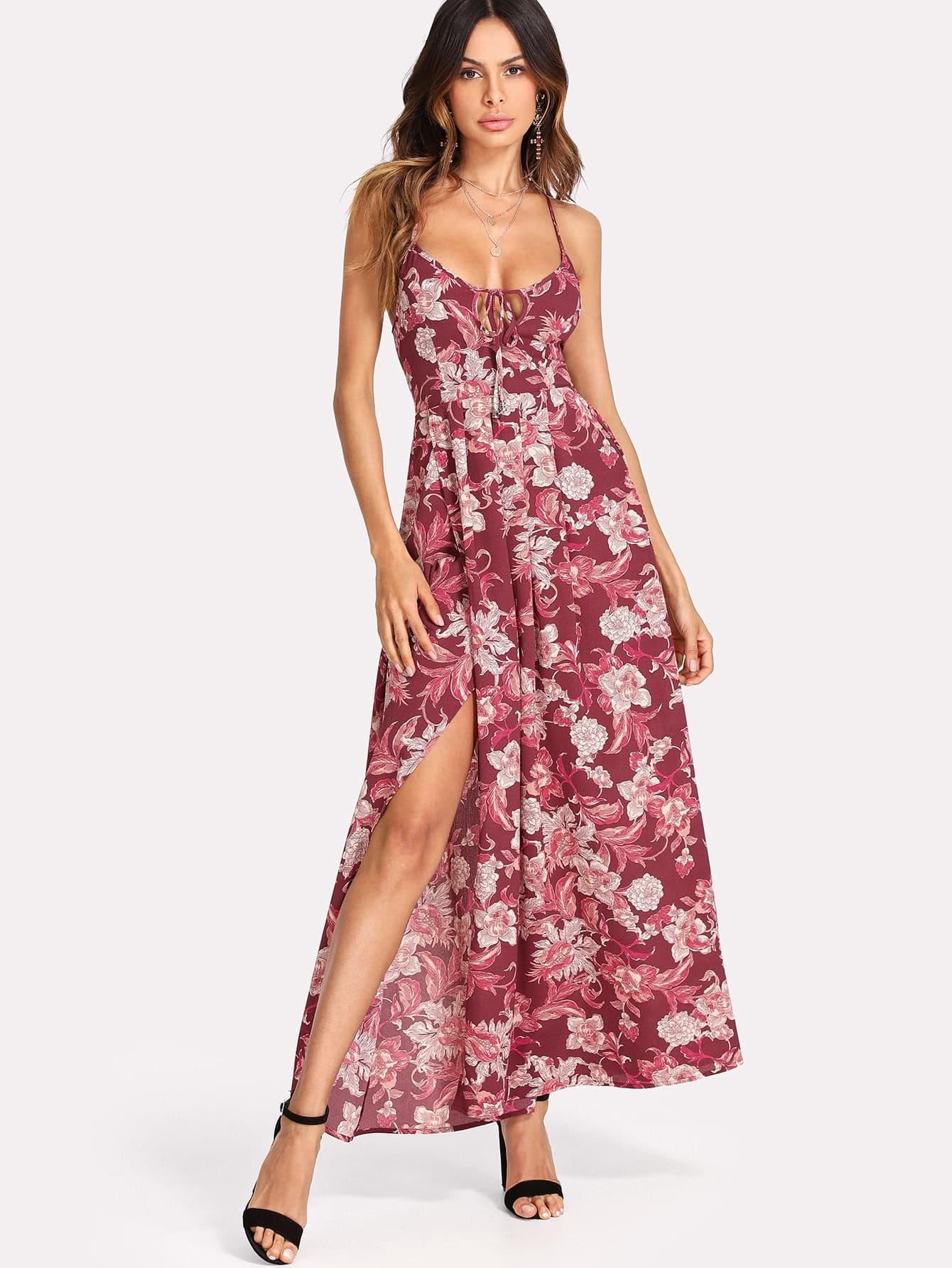 Strappy Back Split Side Floral Dress floral print split side dress