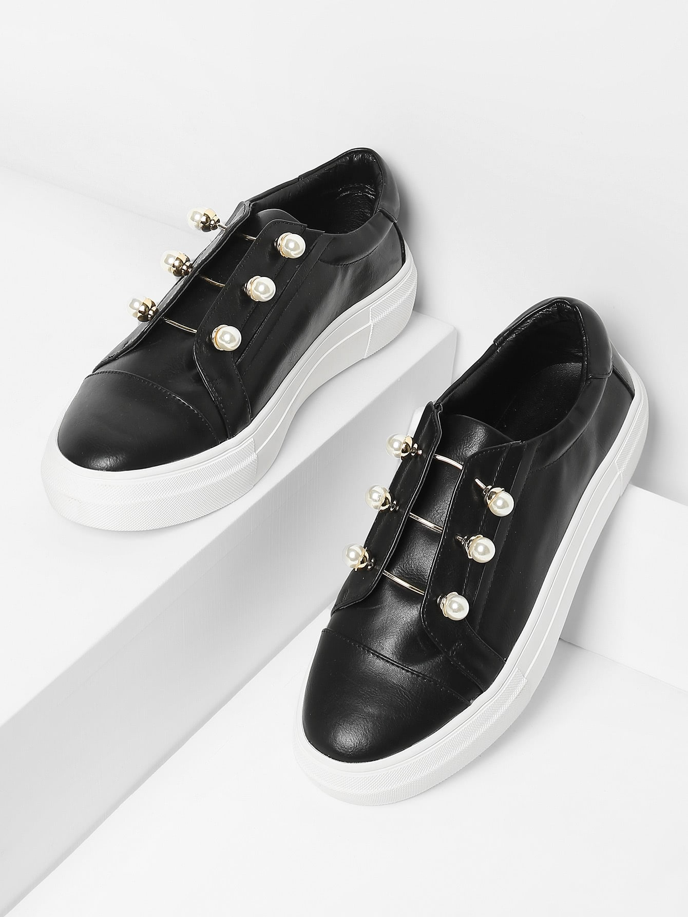 Faux Pearl Decorated Slip On Sneakers faux pearl detail slip on plimsolls