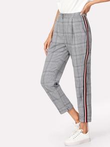 Contrast Tape Side Plaid Pants