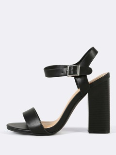 Single Band Ankle Buckle Strap Chunky Heel BLACK