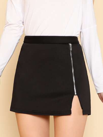 Exposed Zip Front Skirt