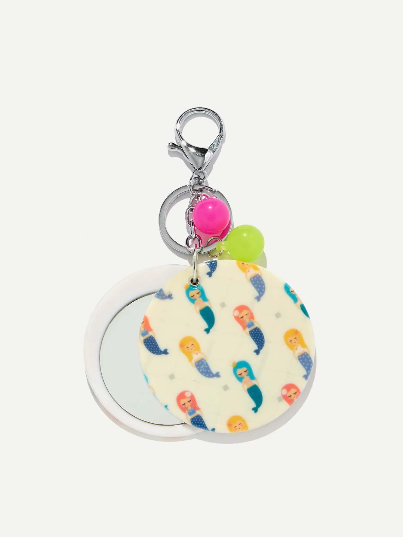 Random Color Ball Cartoon Mermaid Keychain