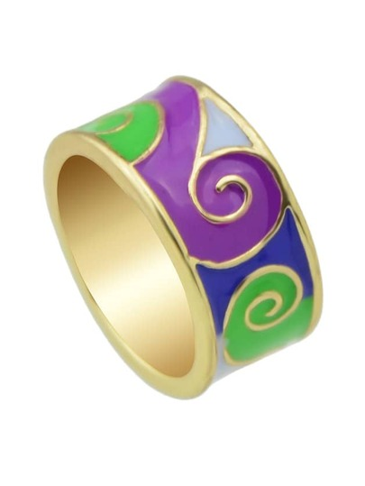 Green-8 Round Gold Plated Finger Rings