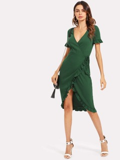 Flounce Sleeve Asymmetrical Hem Wrap Dress
