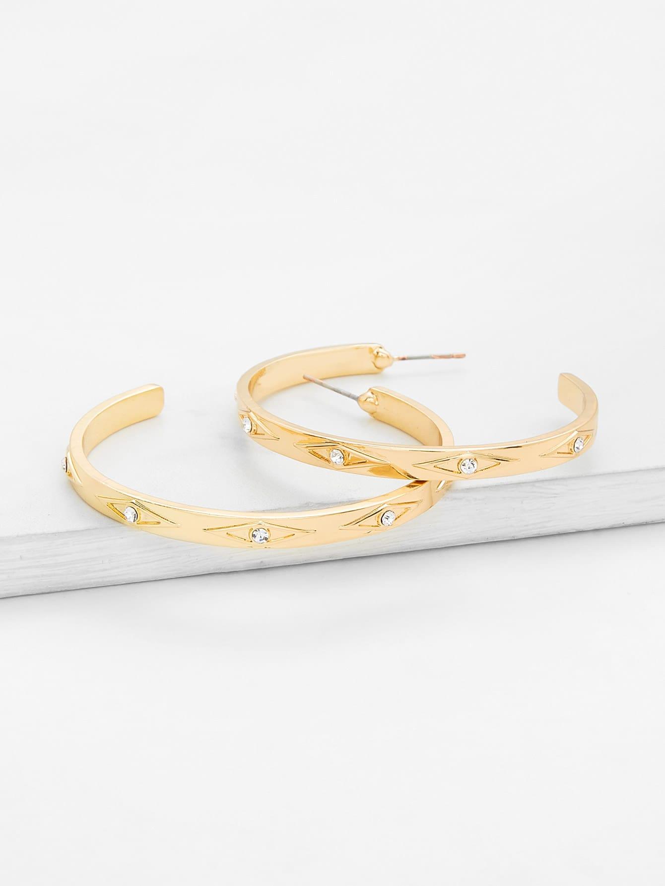 Rhinestone Detail Hoop Earrings bow detail hoop drop earrings